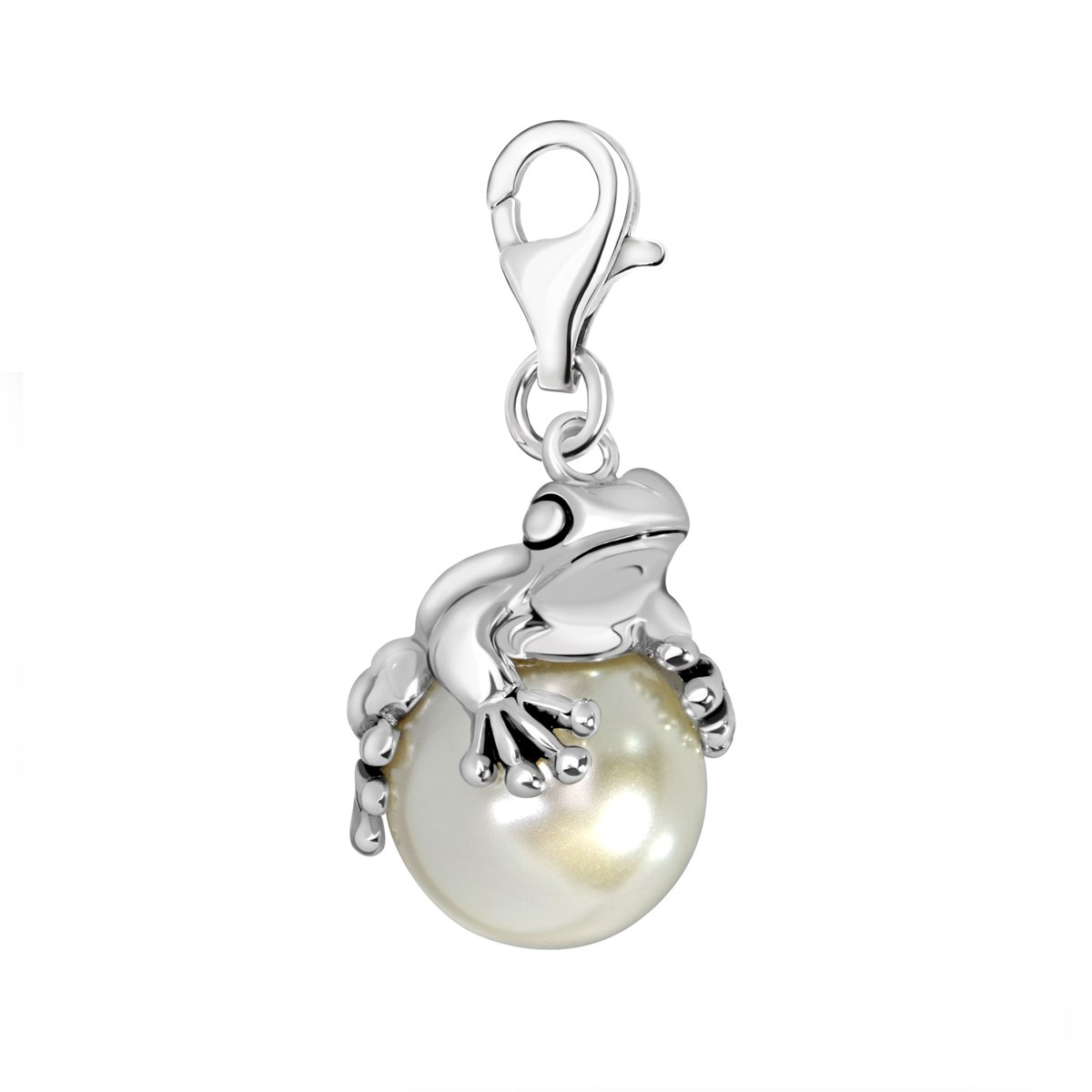 Quiges 925 Sterling Silver Imitation Pearl 3D Frog Lobster Clasp Charm Clip on Pendant