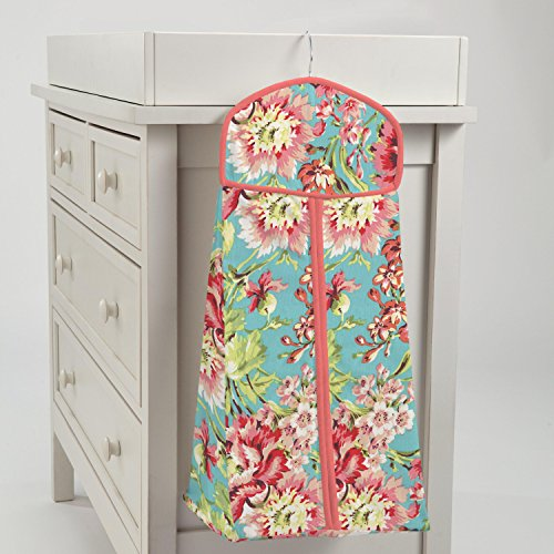 Carousel Designs Coral and Teal Floral Diaper Stacker by Carousel Designs