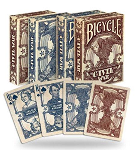 Civil War 2 Decks Bicycle Red & Blue Poker Playing Cards Decks