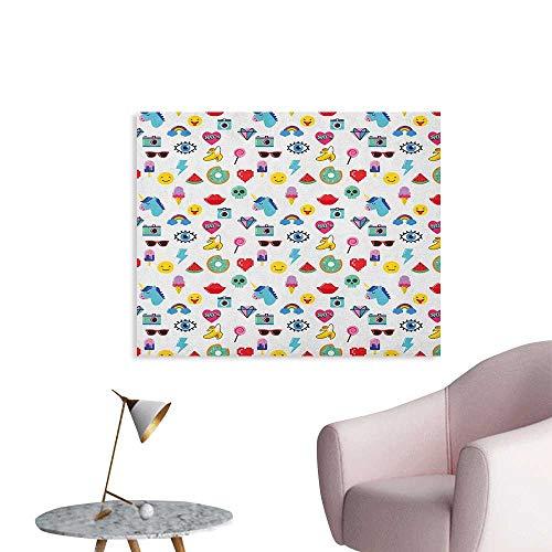 Anzhutwelve Emoji Wallpaper Pop Art Style Cartoon Icons Unicorn Watermelon Banana Pixel Heart Thunder Bolt Eye Wall Poster Multicolor W32 xL24