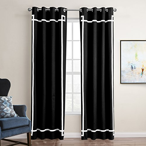 - Jaoul Elegant Cotton Stripe Splicing Curtains Room Darkening Thermal Insulated Blackout Grommet Drape for Living Room Party, 52 x 84 Inch, Black/White (1 Panel)