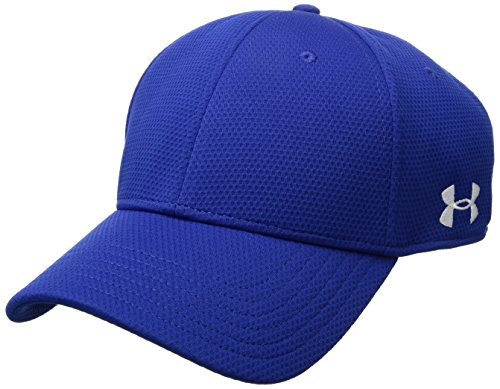 (Under Armour Men's Curved Brim Stretch Fit Cap, Royal (400)/White, Small/Medium )