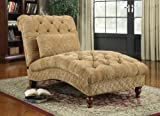 Golden sand color ultra plush chenille fabric upholstered tufted design chaise lounger with turned legs For Sale