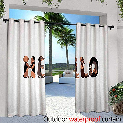 Dachshund Patio Curtains Dachshund Puppies Spelling The Word Hello Lovely Animal Font Design Outdoor Curtain for Patio,Outdoor Patio Curtains W108 x L108 Brown Caramel Taupe