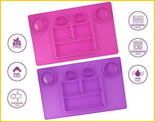 Bellee Silicone Placemat One-Piece Non Slip Silicone Child Kids Safe Baby Food Plate Divided Eating Bowl Tray Placemat - One Size - (Girl Set)