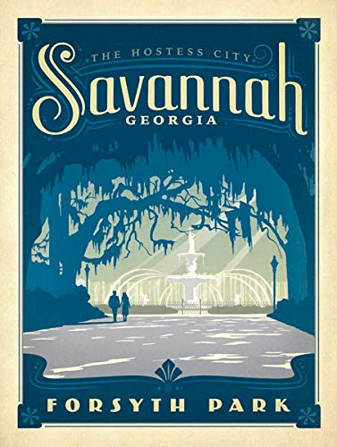 American Vinyl Vintage Art Savannah Georgia Forsyth Park Sticker (ga River Travel City rv) (Best Of Savannah Ga)