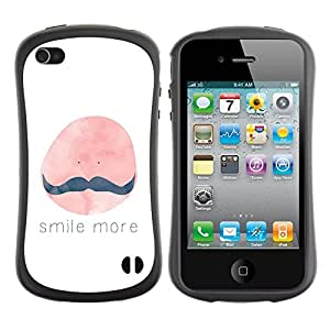 Paccase / Suave TPU GEL Caso Carcasa de Protección Funda para - Smile More Moustache Painting Quote - Apple Iphone 4 / 4S