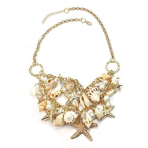 Hot Sweet Chunky Gold Tone Sea Shell Starfish Pearl Bib Statement Necklace