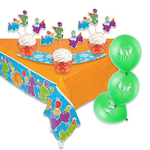 Little Dino Party Treat Pack with Large Dinosaur Table Cover and 50 Cupcake Wrappers and Picks -