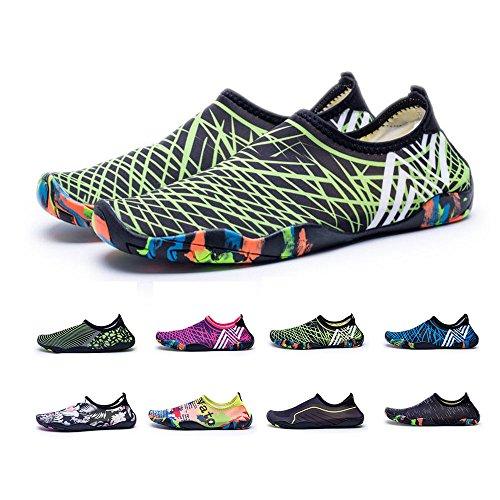 BlanKey Water Sports Shoes Quick-Dry Barefoot Flexible Flats Beach Swim Shoes For Men Women Kids Green2 DZH1S7N