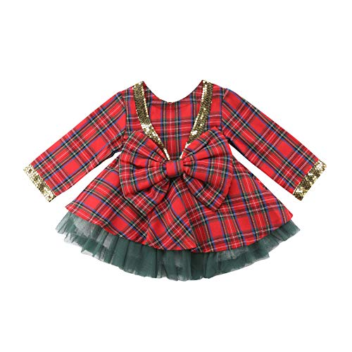 - Toddler Baby Girl Christmas Dress,Pageant Party Long Sleeve Plaid Bow Top Dresses+Tutu Skirts,Fall Outfits Clothes Set