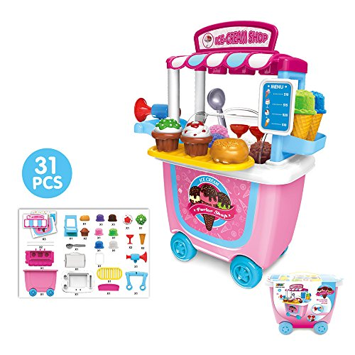 Three Tier Trolleys (Leagway Pretend Play Ice Cream Trolley Shop Toy Set, Gourmet Ice Cream Cart Food Truck Play Set, 31Pcs/Set Children Pretend Role Play Toys for Kids Boys Girls Toddler)