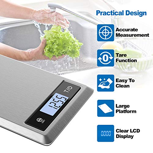 RENPHO Digital Food Scale, Kitchen Scale Weight Grams and oz for Baking, Cooking and Coffee with Nutritional Calculator for Keto, Macro, Calorie and Weight Loss with Smartphone App, Stainless Steel 4
