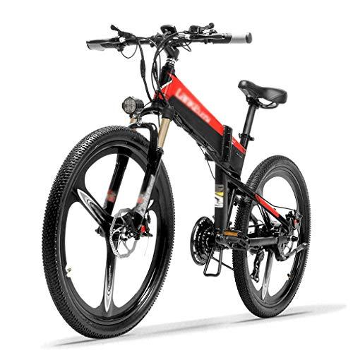 ZDDOZXC XT600 26'' Folding Ebike 400W 12.8Ah Removable Battery 21 Speed Mountain Bike 5 Level Pedal Assist Lockable Suspension Fork