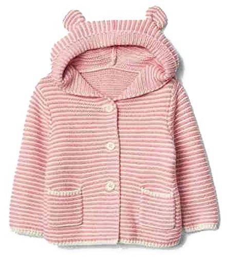 BabyGap Baby Gap Factory Pink Stripe Bear Hoody Cardigan Sweater 6-12 Months (Baby Gap Bear)