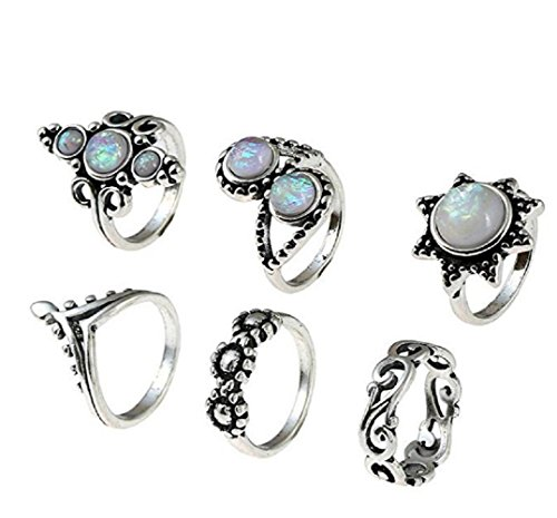 SUNSCSC Retro Vintage Multilayers Crystal Above Knuckle Ring Band Midi Ring Set of 6 Pcs W702