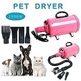 YaeKoo Portable Dog Cat Pet Grooming Dryer 2800w Salon Blow Hair Dryer Quick Draw Hairdryer w/4 Nozzles Pet Hairdryer Machine Set (Pink-2)