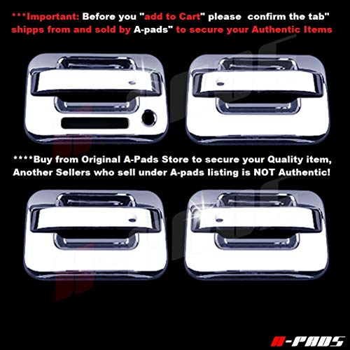 A-PADS 4 Chrome Door Handle Covers for Ford F150 + SVT RAPTOR 2004-2014 - WITH Keypad & WITHOUT Passenger Keyhole