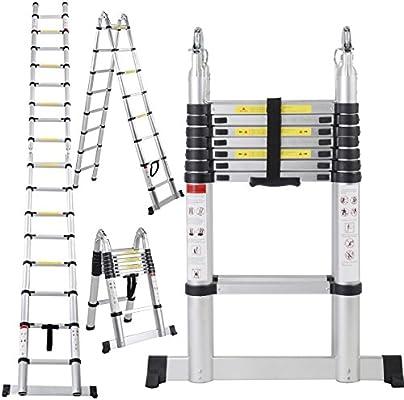 kingyuan 16,5 Altura de extensión telescópica de fibra de escalera telescópica de aluminio multiusos escalera plegable, carga máxima: 150 kg: Amazon.es: Bricolaje y herramientas
