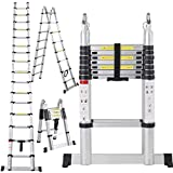 Yocitoy Aluminum Telescopic Extension Ladder, EN131 Certified, 16.5 Feet Heavy Duty Extendable Work, - Max 330 lbs. Capacity Perfect For Professional & Home Projects