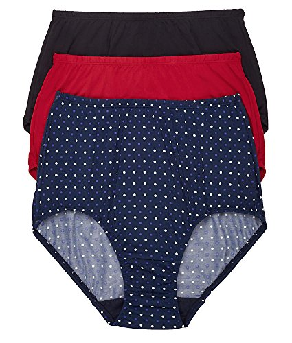 Olga Without A Stitch Microfiber Brief 3-Pack, 6, Black/Red/Navy - Olga Womens Panty