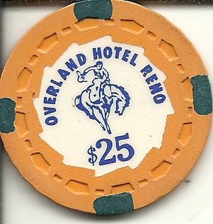 ($25 overland hotel reno nevada casino chip orange rare)