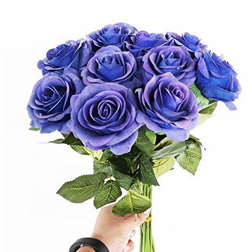 IPOPU-Artificial-Flowers-Silk-Moisturizing-Real-Touch-Rose-Fake-Flower-with-Green-Leaves-Wedding-Bouquet-for-HomeOffice-PartyWedding-Decoration-and-Festival-Gift-12-Pcs-Blue