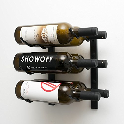 VintageView WS12 1-Foot 6 Bottle Wall Mounted Wine Rack in Satin Black (2 Rows Deep) For Sale