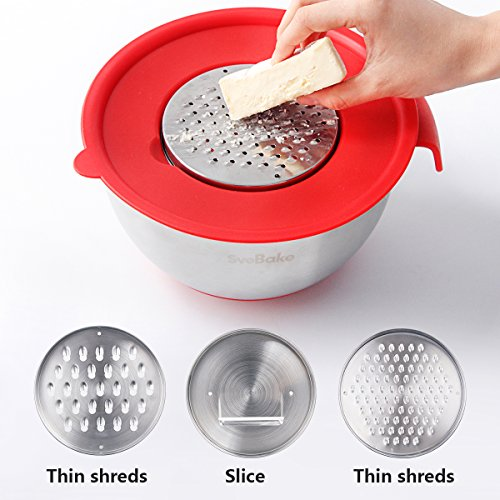 SveBake Mixing Bowls - Stainless Steel Mixing Bowl Set with Handles, Pour Spouts, Non-Slip Base and Graters, Set of 3, Red by SveBake (Image #3)