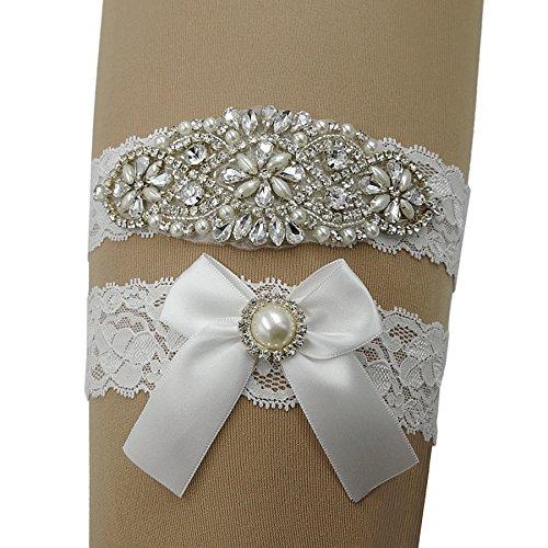 Kirmoo Vintage Lace Bridal Garter Set Wedding Garters For Bride White (M(14