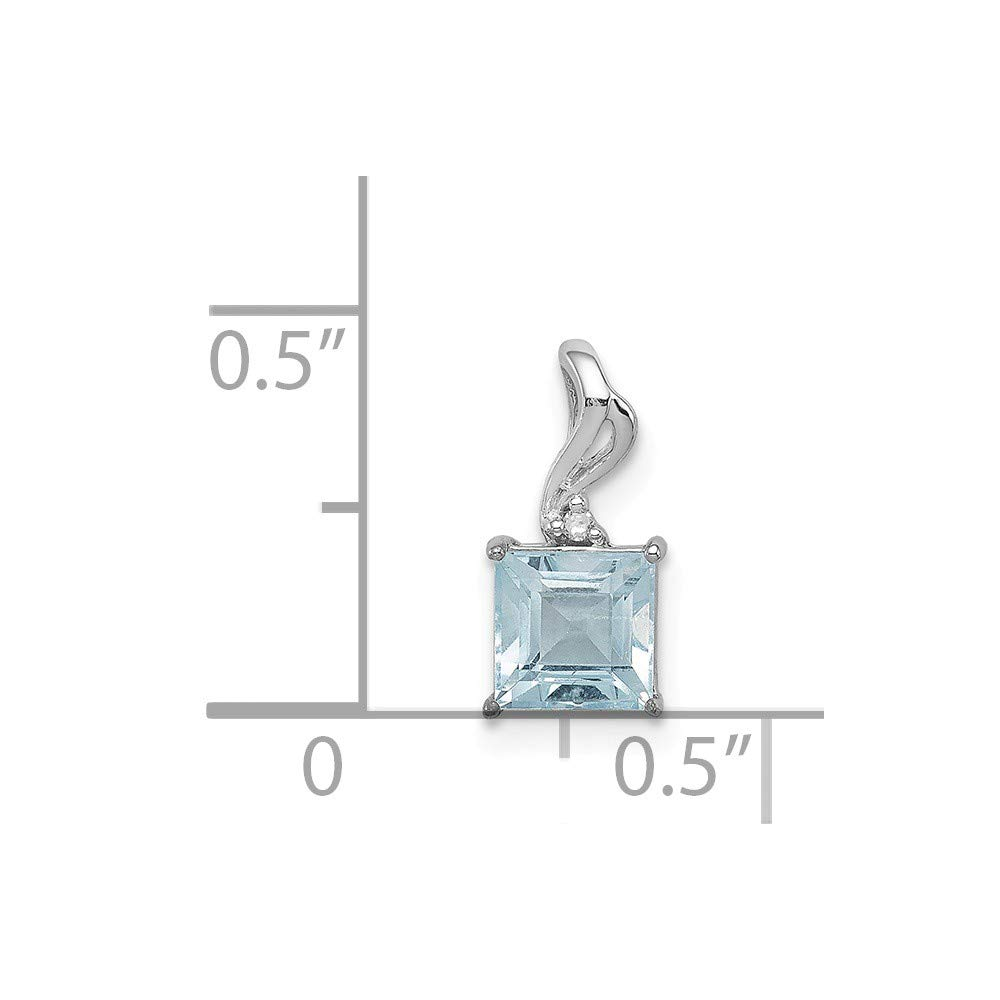 Blue Topaz /& Diamond Square Pendant 12x5mm in 925 Sterling Silver 0.65ct 12x5mm