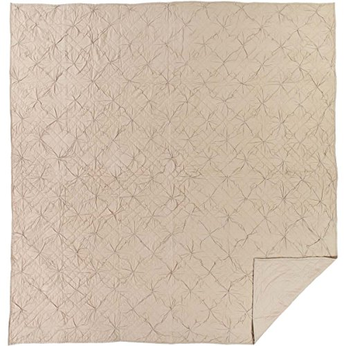 Satin Squares Coverlet (VHC Brands Farmhouse Bedding-Aubree Grey Quilt, Queen, Taupe)