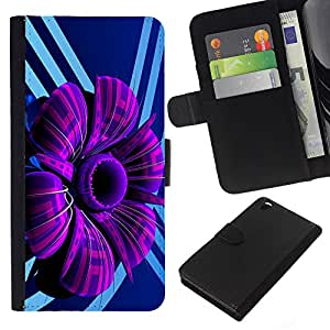 Stuss Case / Funda Carcasa PU de Cuero - Púrpura abstracto de la flor - HTC DESIRE 816