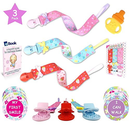 Premium Pacifier Clip Girl 3Pk Bundle - Bonus 12 Milestone Stickers, Silicone Soothie Teether & Teething eBook - 2...