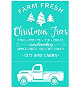 Chalk Transfers Silk Screen Printing Stencils Vintage Truck Christmas Trees Letter for Painting o...