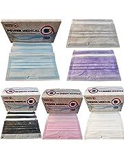 كمامة طبية باور ميديكال ماسك بفلتر ميلتبلون 99% حماية من البكتريا قناع 3 طبقات 50 قطعة الوان متعددة