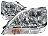 Headlights Depot Replacement for Lexus RX300 Chrome Without Hid Headlights Headlamps Driver/Passenger Pair