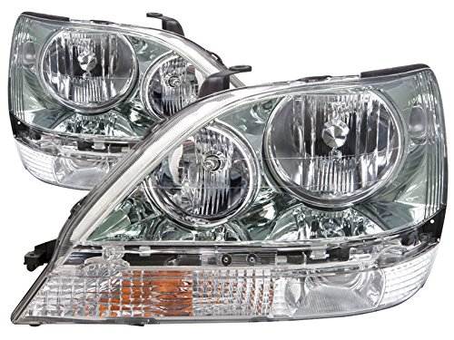 HEADLIGHTSDEPOT Compatible with Lexus RX300 Chrome Without Hid Headlights Headlamps Driver/Passenger Pair New (Bolt Catch Assembly Kit)