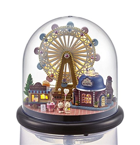 Like A Song Fashion Educational handmade DIY Creative Decoration Music Box ,360-Degree Rotating, 3D Wooden Model