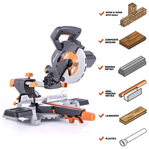 Evolution Power Tools R185SMS 7-1/4″ Multi-Material Compound Sliding Miter Saw