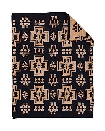 Pendleton Harding Knit Wool Throw Blanket, Black, One Size