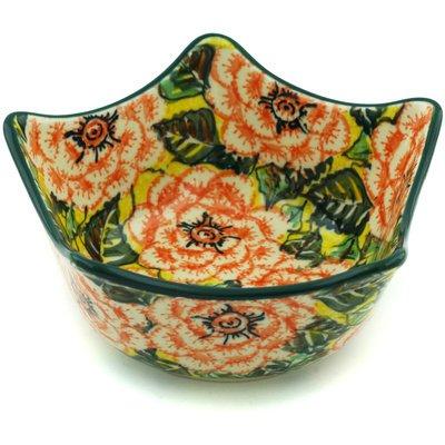 Polish Pottery Bowl 7-inch Orange Peonies UNIKAT