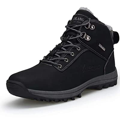 VISIONREAST Mens Snow Boots Fur Lined Warm Winter Shoes Waterproof Outdoor Hiking Shoes | Snow Boots