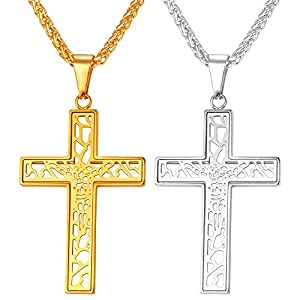 U7 Cross Necklace With Chain Stainless Steel/18K Gold Plated Cross Pendant, 3 Styles - Crucifix,Celtic Cross,Cross Wing