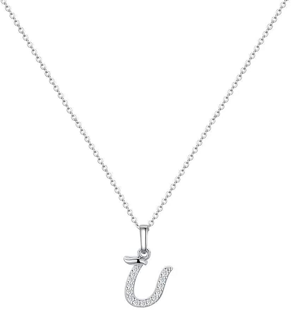 White Gold Plated Letter Pendant Small Cubic Zirconia Initial Necklace for Women Girls Teens Dainty Tiny Alphabet Letter Necklace from A-Z M MOOHAM 925 Sterling Silver Initial Necklace for Women