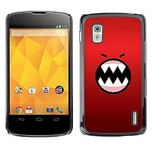 TopCaseStore / la caja del caucho duro de la cubierta de protección de la piel - Angry Face Cartoon Teeth Character - LG Google Nexus 4 E960
