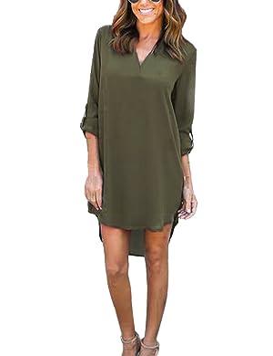 Women's V-Neck Chiffon Cuffed Sleeve Casual Loose Blouse Mini Dress Shirt Dress (Medium, Green)