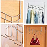 Over the Door Metal Rack Rail with 5 Hooks Ideal for Hang Over the Bathroom Door to Hang Bath Towels, Bathrobes, Next-day's Clothing, Holds Coats, Sweaters, Umbrella, & Scarves