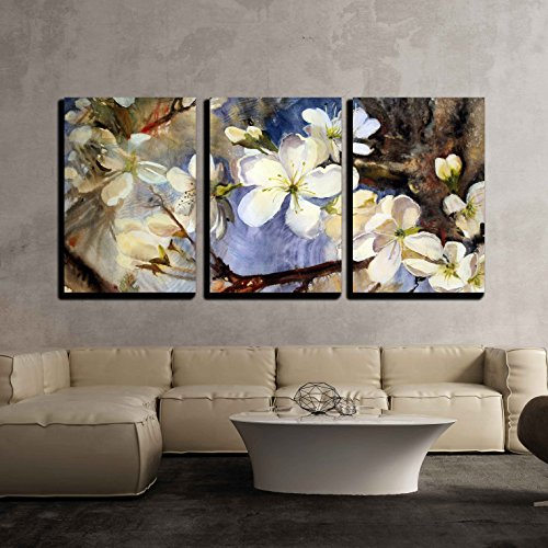 wall26 - 3 Piece Canvas Wall Art - Watercolor Painting of The Blooming Spring Tree Branches with White Flowers - Modern Home Decor Stretched and Framed Ready to Hang - 16