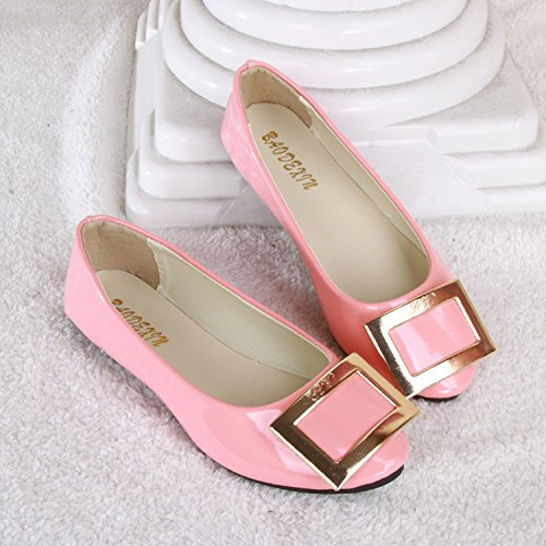 candy Women's shoes thin sweet colored flat leather Pink glossy pqqxPdwAH